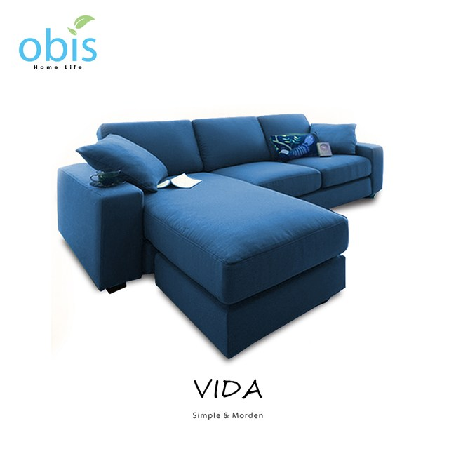 obis VIDA自然風清新L型布沙發-皇家藍