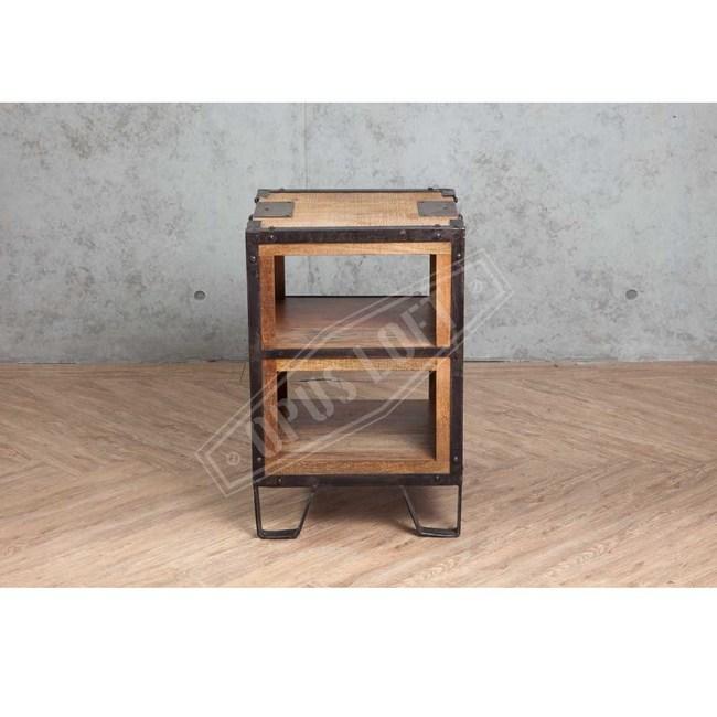 OPUS 工業風 鐵框實木床頭櫃【17112】41X41X6141X41X61cm
