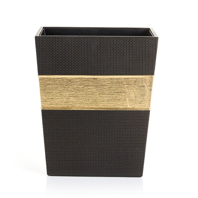 【Finara 費納拉】溫莎公爵黑金-皮革梯形收納桶(紙簍/垃圾桶)