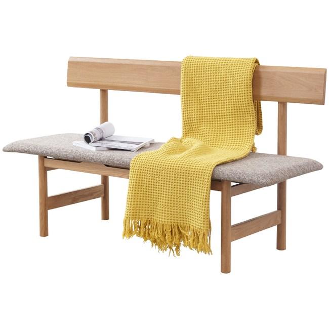 原木日式白橡木實木棉麻布坐墊1.2M靠背長椅