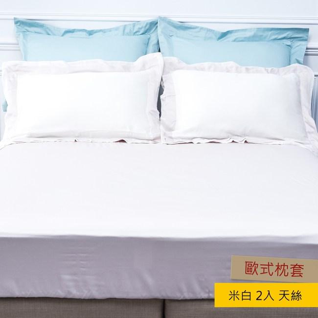HOLA 雅緻天絲素色歐式枕套 2入 米白