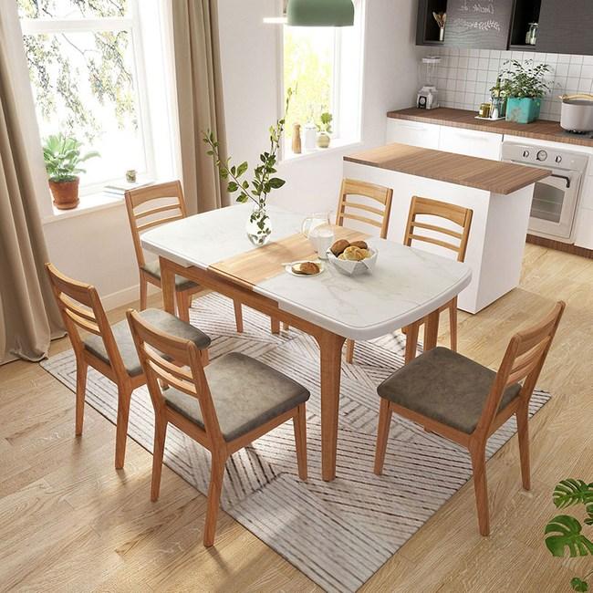 林氏木業現代風大理石紋可伸縮長餐桌 LS058+餐椅(一桌四椅) -淺木色