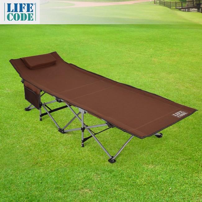【LIFECODE】豪華折疊床(附枕頭+置物側袋)-咖啡色