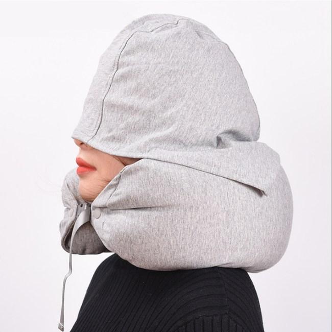 PUSH!旅遊用品飛機帶帽旅行枕U型頸枕S66灰色灰色