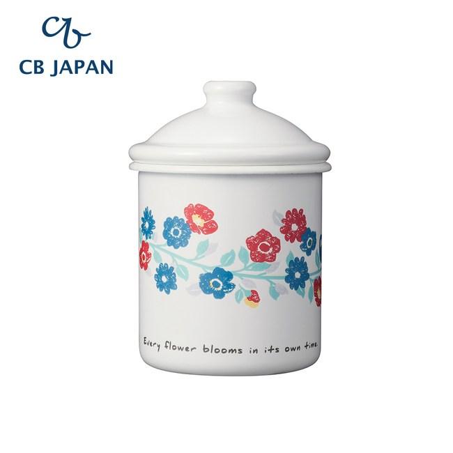 CB Japan 北歐系列珐瑯置物罐-花彩白