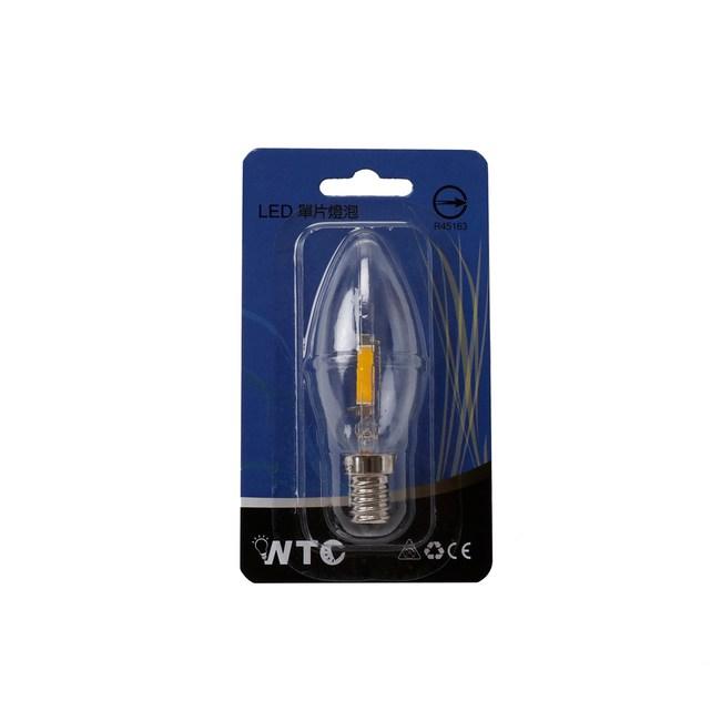 WTC LED E14 0.9W 單片式 蠟燭燈炮 清光黃