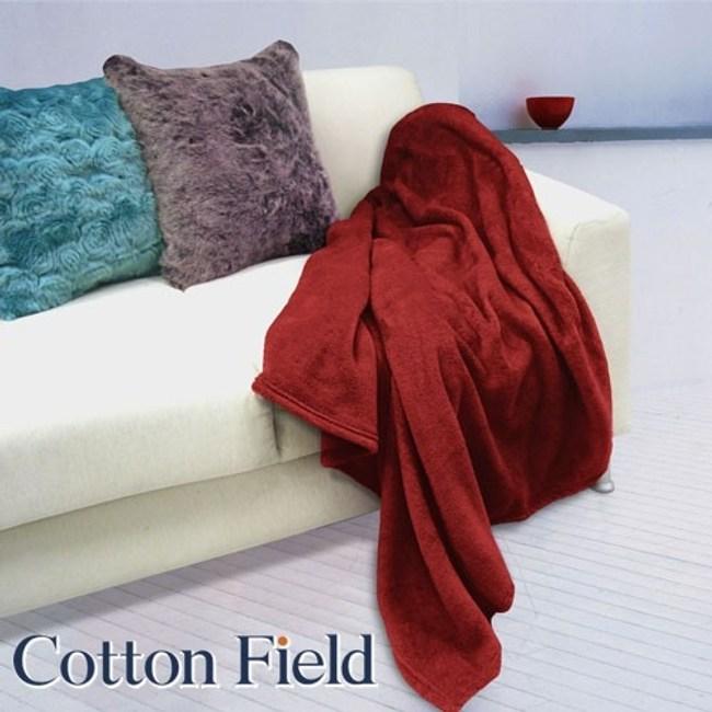 棉花田【菲柔】超細纖維超柔隨意毯-2色可選(130X170cm)紅色