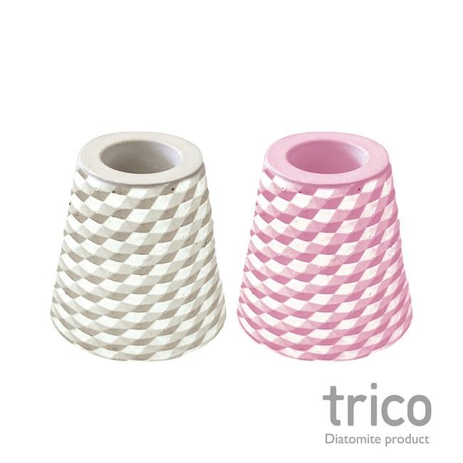 日本Trico 菱格珪藻土牙刷架(灰+粉紅)