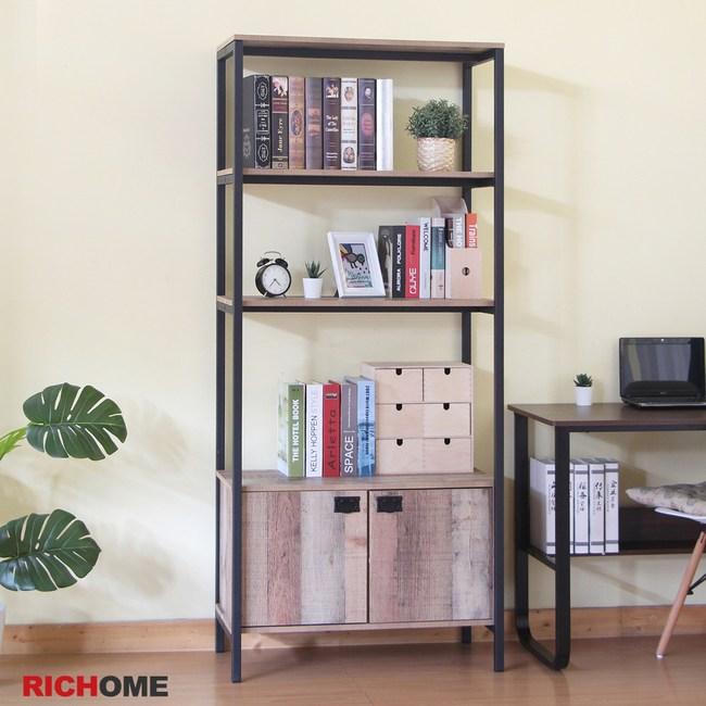 【RICHOME】漢克雙門層櫃橡木色