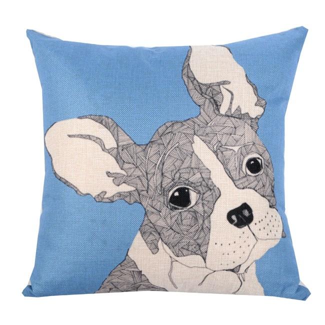 動物家族 棉麻舒適方型抱枕.靠枕_淺藍法鬥