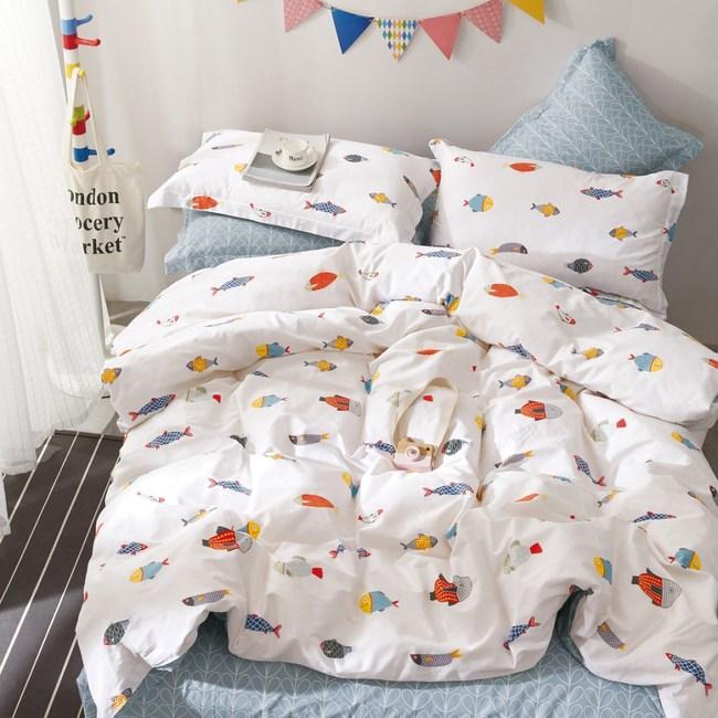 【eyah】100%寬幅精梳純棉雙人床包枕套3件組-翻轉彩色人生