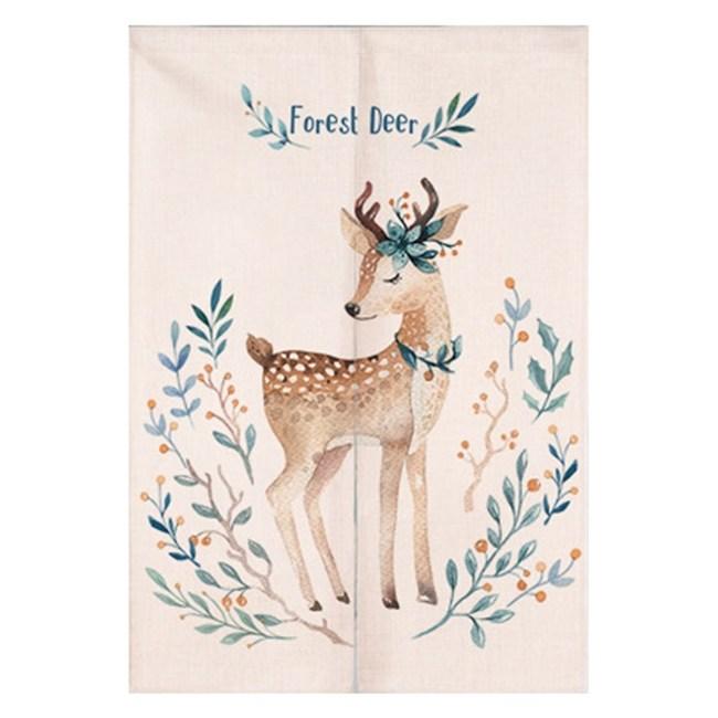 【Loviisa 森林小鹿】開運棉麻門簾 窗簾 韓版風水簾 送伸縮桿85x120cm