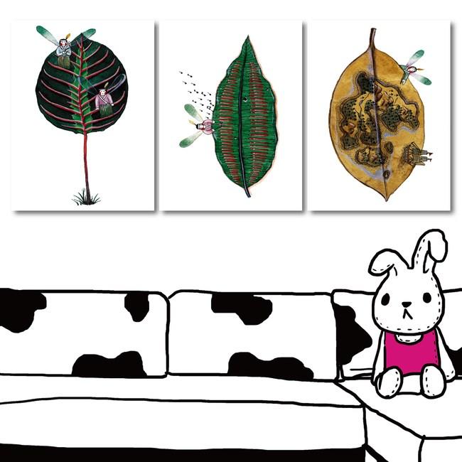 24mama掛畫-三聯式 北歐風 童趣 植物 葉子 插畫無框畫-30x40cm