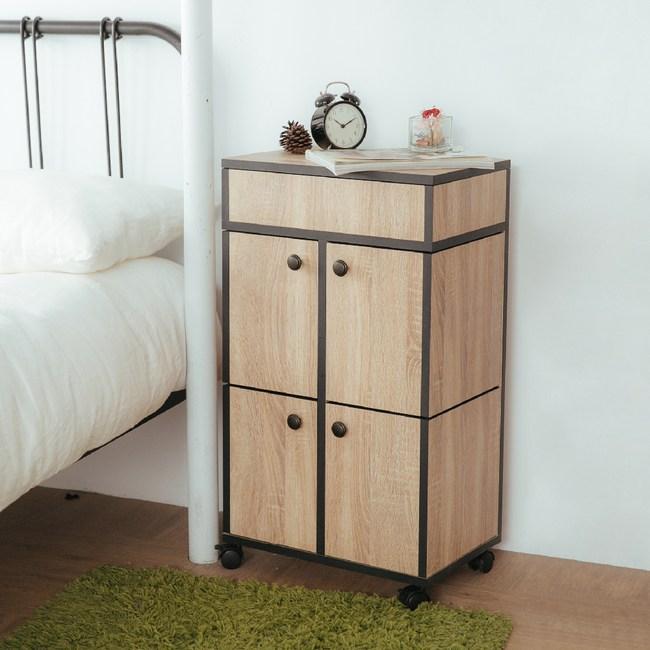 【IDEA】全實木多格移動式化妝收納櫃(專業收納)實木化妝車