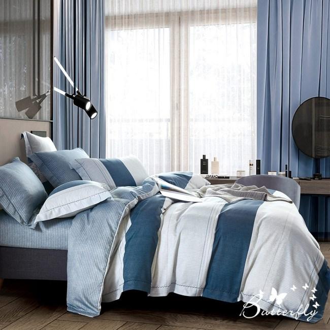 【BUTTERFLY】MIT-3M專利+頂級天絲-雙人薄床包枕套組-年華