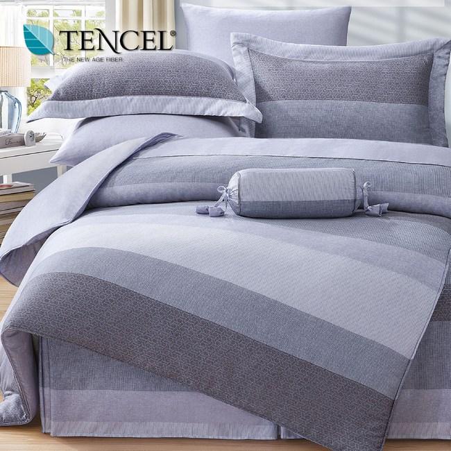 【貝兒居家寢飾生活館】100%天絲全鋪棉床包兩用被四件組(雙人/麻趣布洛灰)