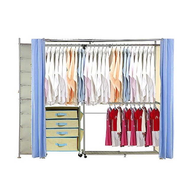 巴塞隆納─AH-24伸縮衣櫥 前布簾水藍色不織布