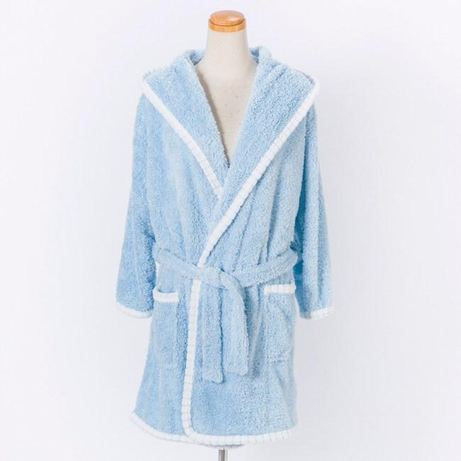 HOLA 超細纖維速乾成人連帽造型浴袍 藍