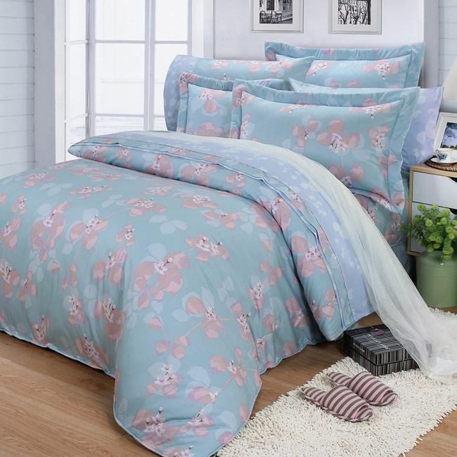 【FITNESS】精梳棉雙人七件式床罩組-佛洛拉(藍綠)