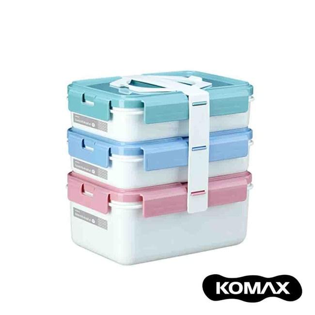 韓國KOMAX 長型三層餐盒組-共2色白