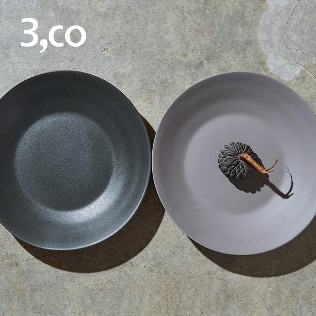 【3 co】水波沙拉盤-灰+黑(2件式)