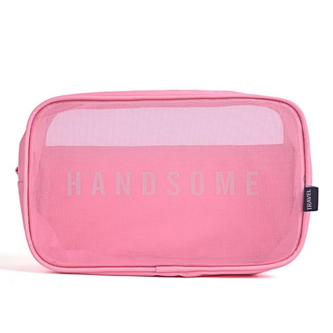PUSH!旅遊用品洗漱包化妝包收納袋三件套S65粉色粉色