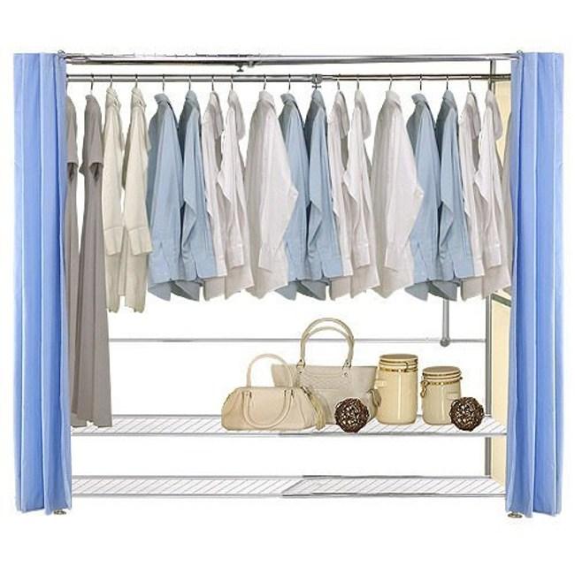 巴塞隆納─AH-36伸縮衣櫥 前布簾水藍色不織布
