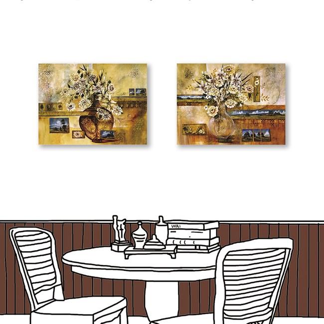 24mama掛畫 二聯式 古樸花卉 油畫風無框畫 60X80cm