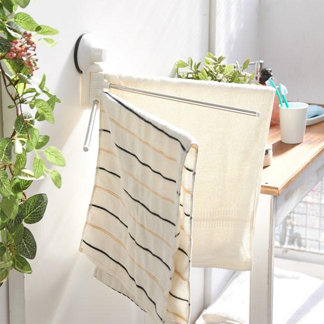 【H&R安室家】TACO無痕吸盤系列-180度旋轉毛巾桿