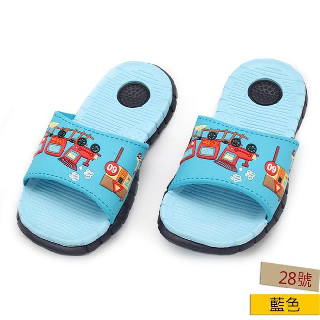 HOLA 跑跑汽車童室外拖鞋-藍28