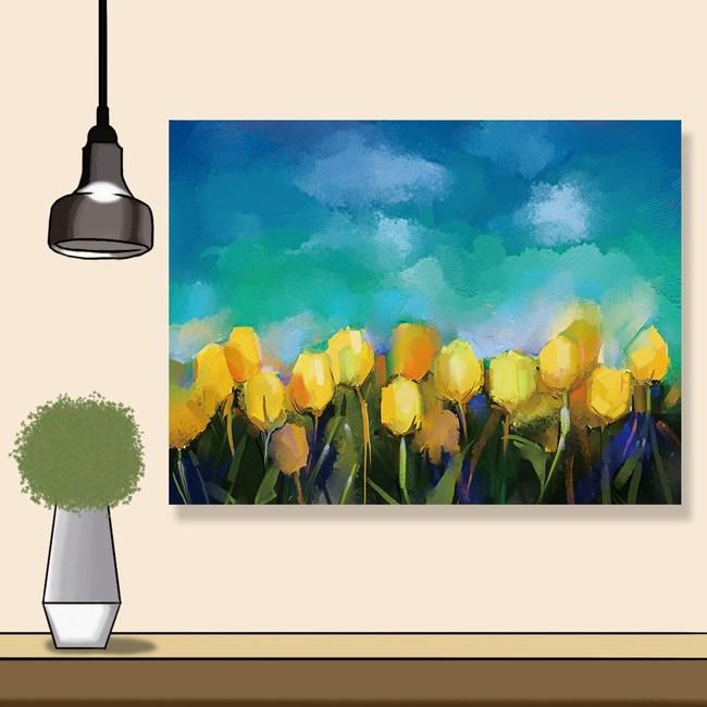 【24mama 掛畫】單聯式 油畫布 無框畫 80x60cm-鬱金香花油畫布無時鐘