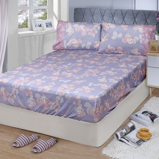 【FITNESS】精梳棉雙人床包+枕套三件組-佛洛拉(紫)