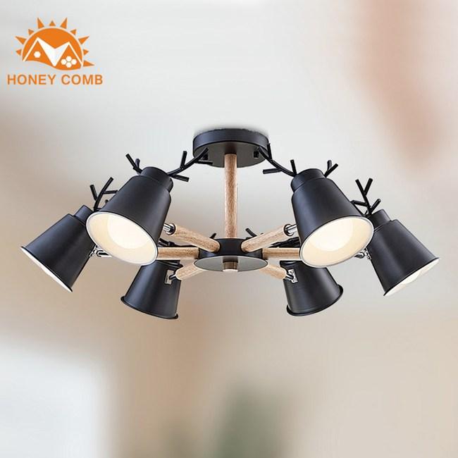 【Honey Comb】北歐風複刻版原木半吸頂六燈(MK818-6)