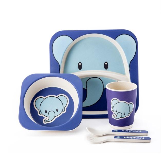 尼奇大象二隔盤餐具 五件組