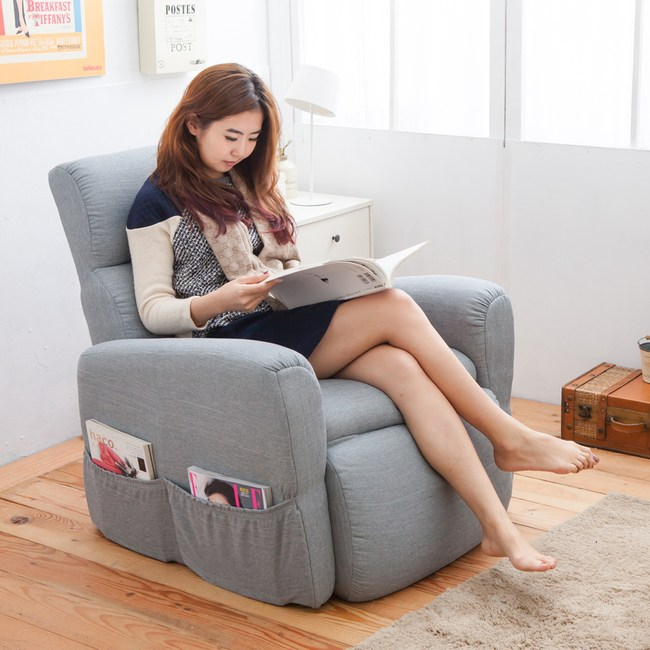 伊登 幸福時光 氣壓棒自動無段式調整沙發床/椅 (灰)