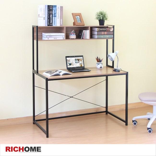 【RICHOME】MIRO簡約時尚雙層書桌胡桃木紋色