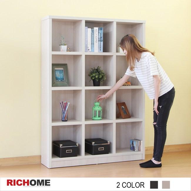 【RICHOME】傑克12格書櫃-2色白橡木紋色