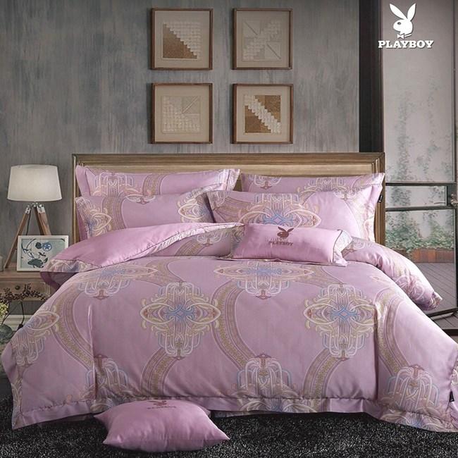 【貝兒寢飾】PLAYBOY 60支萊賽爾天絲兩用被床包+刺繡抱枕五件組(雙人/肖邦舞曲紅)
