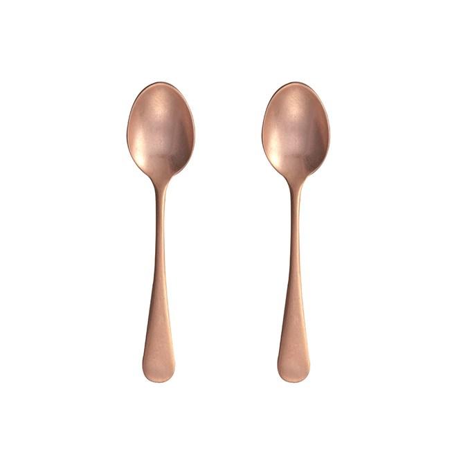 日本 AOYOSHI 青芳製作所 古英式粉金不銹鋼咖啡匙-2入組