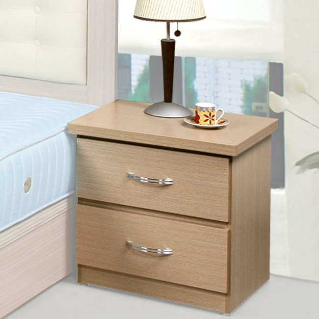 Homelike 艾凡二抽床頭櫃(白橡木紋)