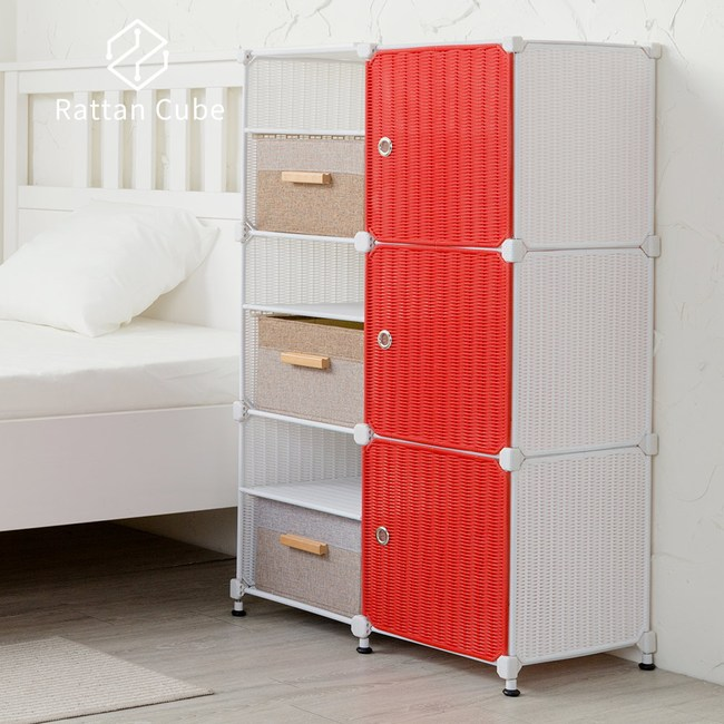 【藤立方】組合3層6格收納置物架(3門板+3置物盒+調整腳墊)-白色/紅色