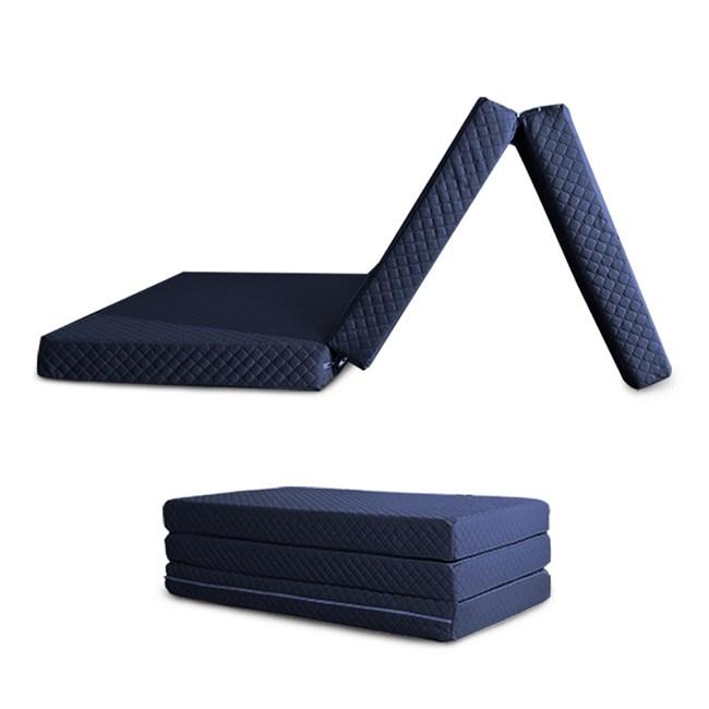 【C'est Chic】日式三折獨立筒彈簧床墊3.5尺(可收拆洗)-藍