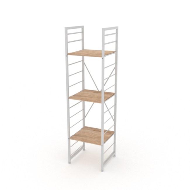 (組)特力屋萊特三層架白框/淺木紋-40x40x158cm