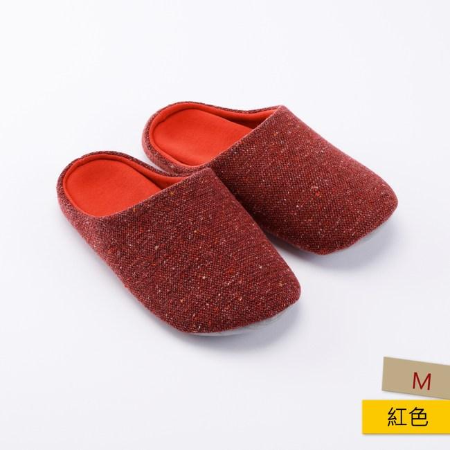 HOLA 格蘭毛呢室內拖鞋-紅M