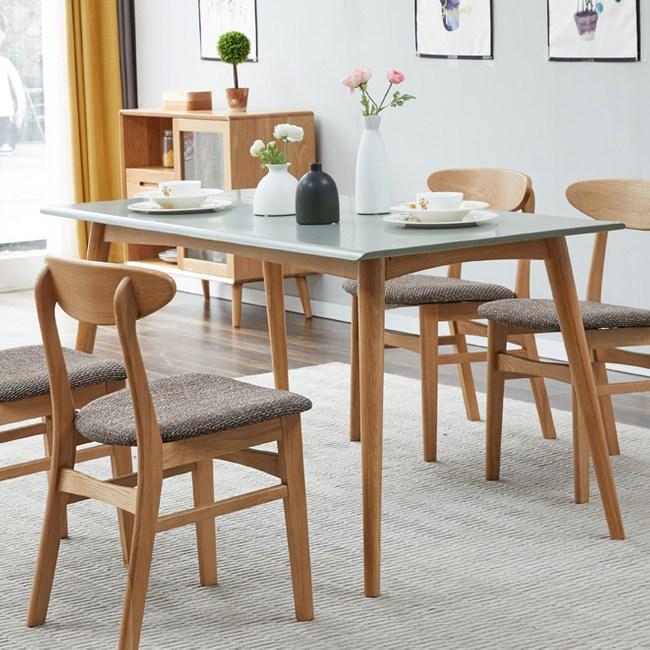 原木日式明治白橡木實木1.2M斜腳餐桌w7010-灰色桌面