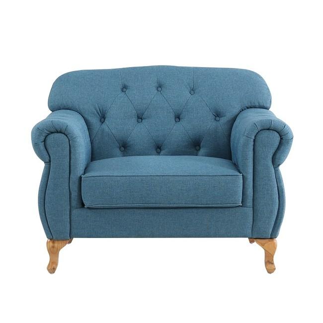 【MUNA 家居】米洛斯單人藍色布沙發