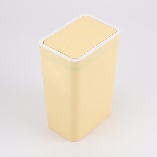 HOLA 馬卡龍按壓垃圾桶8L--嫩黃