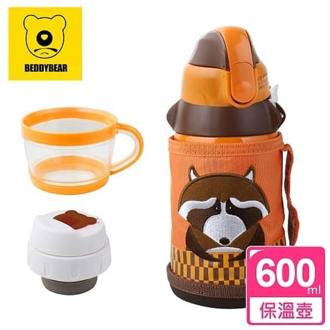 【韓國 BEDDY BEAR】兒童保溫保冷水壺600ML(浣熊先生)