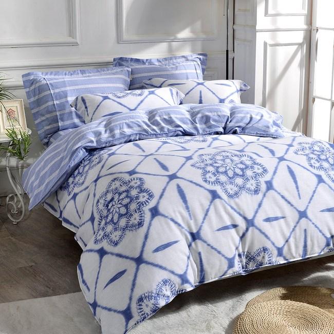 【Betrise青花瓷】雙人- 天絲棉麻銀離子防蹣抗菌四件兩用被床包組