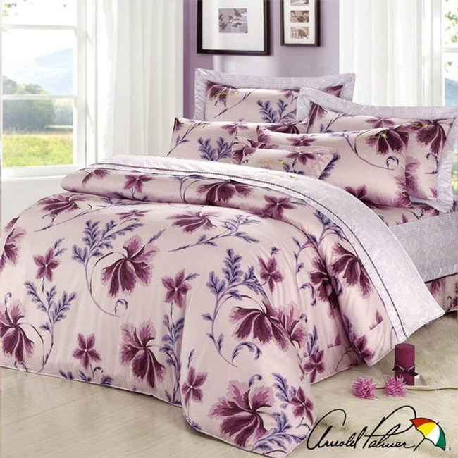 Arnold Palmer雨傘牌 陶醉粉紫-精梳棉床罩雙人加大七件組